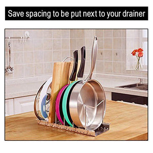 Select nice kitchen pot lid organizer anti rust stainless steel pan rack holder with 7 adjustable compartments for dinnerware bakeware cookware
