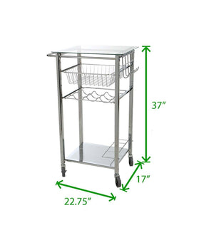 Online shopping mind reader glass top mobile kitchen cart with wine bottle holder wine rack towel holder perfect kitchen island for cooking utensils kitchen appliances and food storage silver