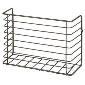 Select nice mdesign farmhouse metal wire wall cabinet door mount kitchen storage organizer basket rack mount to walls and cabinet doors in kitchen pantry and under sink 2 pack bronze