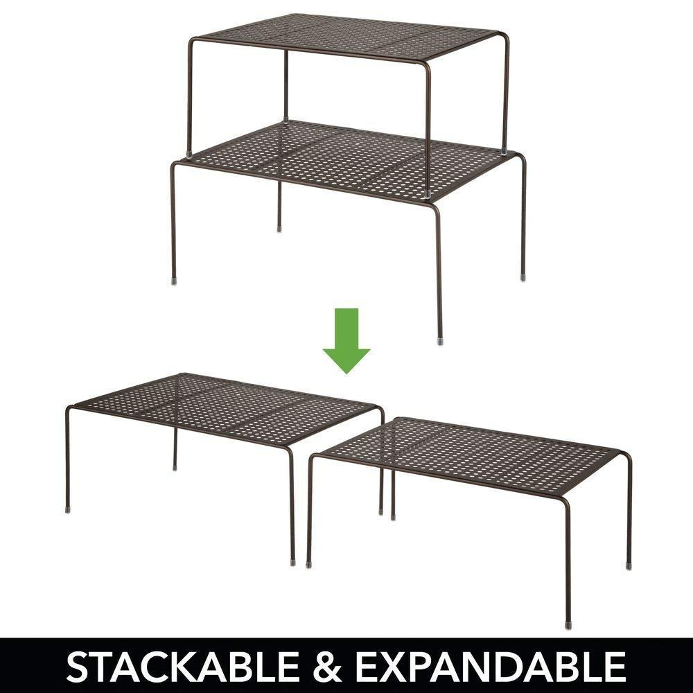 Discover the best mdesign adjustable metal kitchen cabinet pantry countertop organizer storage shelves expandable 4 piece set durable steel non skid feet bronze