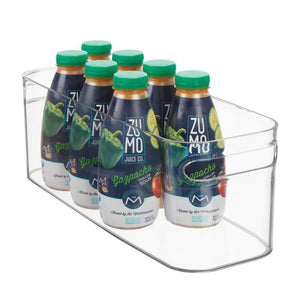 Organize with mdesign plastic kitchen under sink refrigerator or freezer food storage bin with handles organizer for fruit yogurt snacks pasta food safe bpa free 4 pack clear