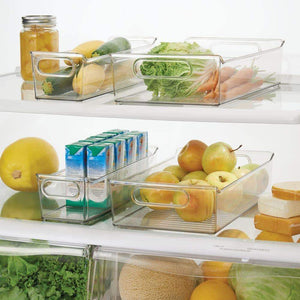 Shop mdesign plastic kitchen pantry cabinet refrigerator or freezer food storage bins with handles organizers for fruit yogurt drinks snacks pasta condiments set of 4 clear