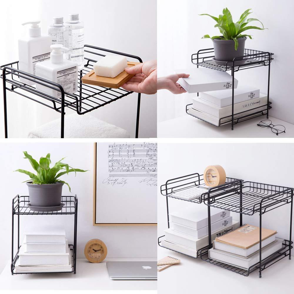 The best aiyoo 2 tier black metal bathroom standing storage organizer countertop kitchen condiment shelf rack for spice cans jars bottle shelf holder rack
