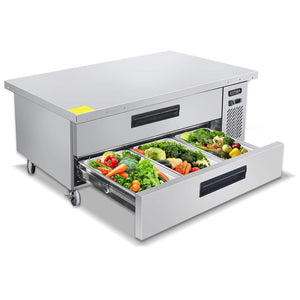 Select nice commercial 2 drawer refrigerated chef base kitma 60 inches stainless steel chef base work table refrigerator kitchen equipment stand 33 f 38 f