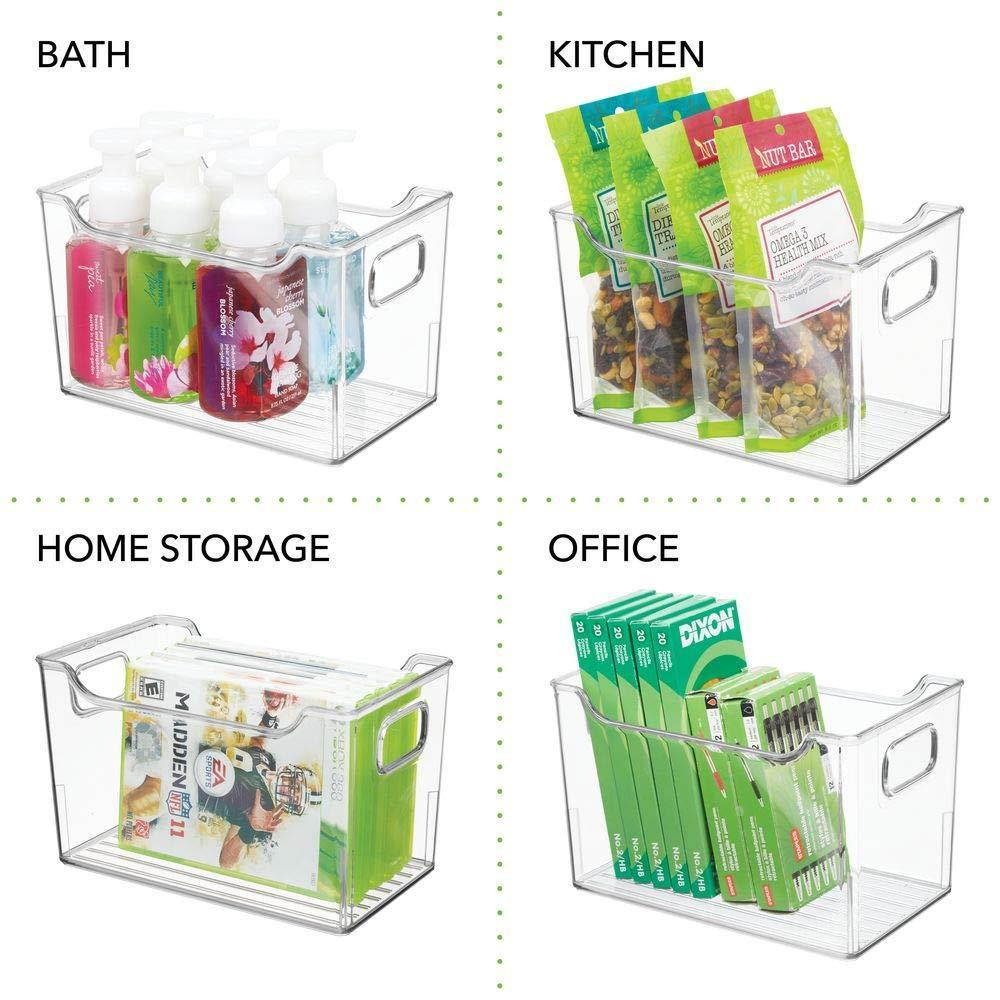 Selection mdesign plastic kitchen pantry cabinet refrigerator or freezer food storage bins with handles organizer for fruit yogurt snacks pasta bpa free 10 long 4 pack clear