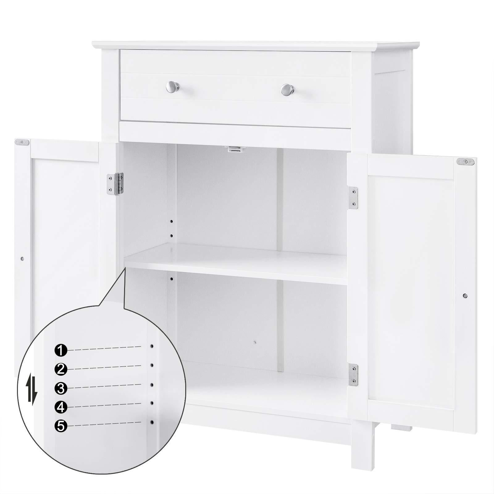 Top rated vasagle free standing bathroom cabinet with drawer and adjustable shelf kitchen cupboard wooden entryway storage cabinet white 23 6 x 11 8 x 31 5 inches ubbc61wt