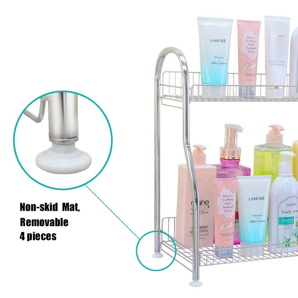 Select nice junyuan kitchen spice racks 2 tier bathroom shelf kitchen countertop storage organizer jars bottle seasoning rack shelf holder space saving high capacity mesh wire stainless steel