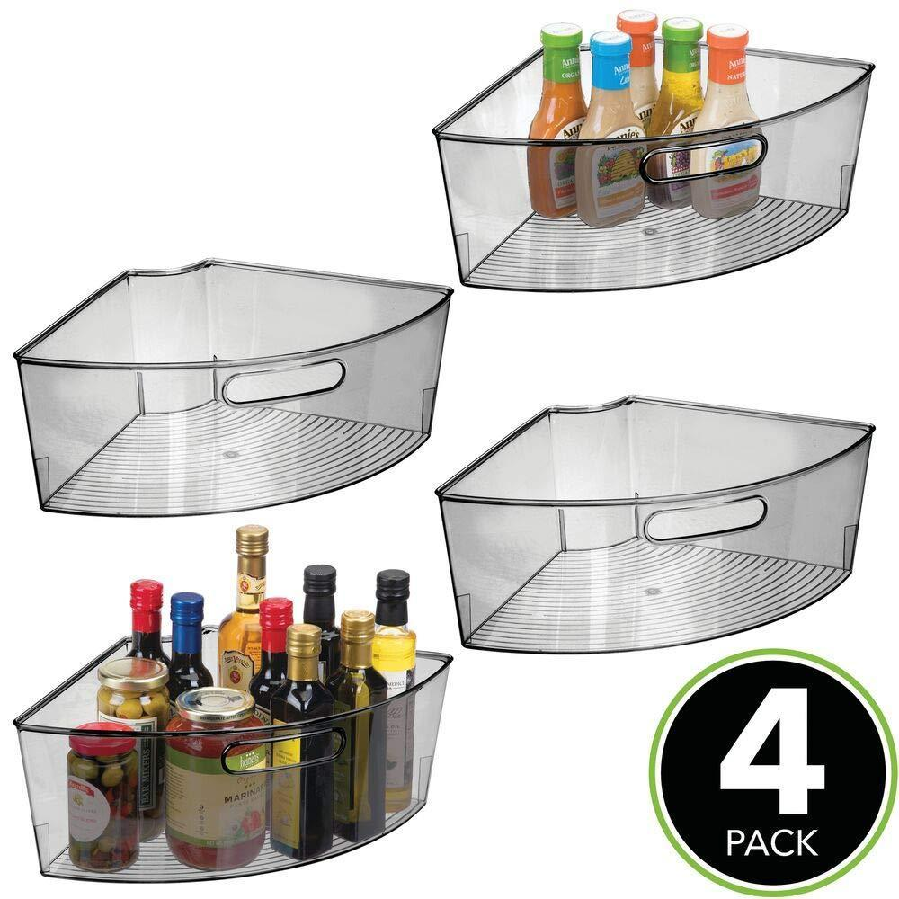 Select nice mdesign kitchen cabinet plastic lazy susan storage organizer bins with front handle large pie shaped 1 4 wedge 6 deep container food safe bpa free 4 pack smoke gray