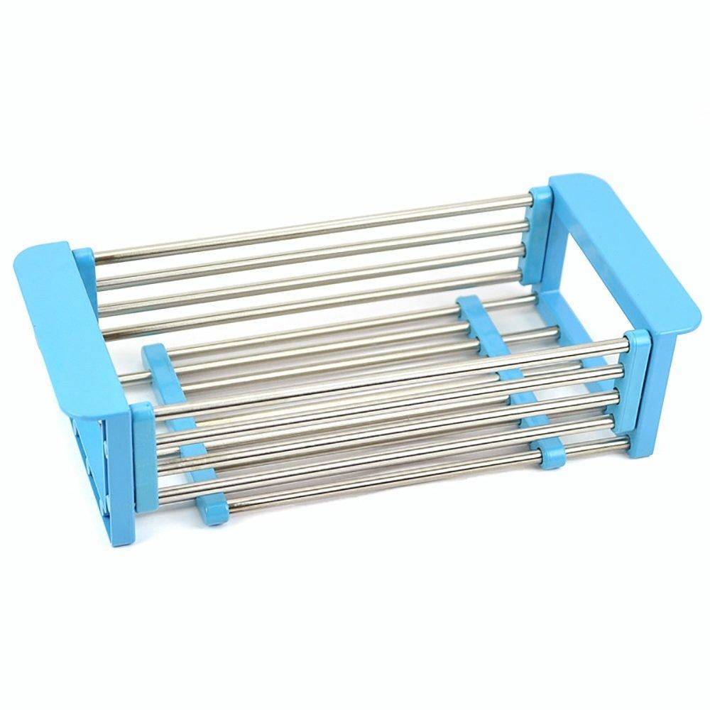 Latest yan junau kitchen racks stainless steel retractable sink drain rack dish rack kitchen supplies color blue