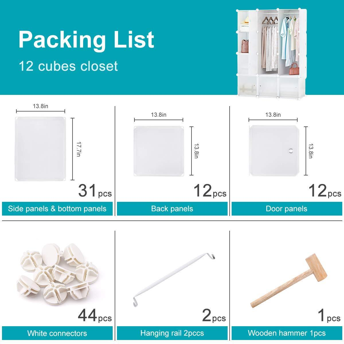 Explore honey home modular storage cube closet organizers portable plastic diy wardrobes cabinet shelving with easy closed doors for bedroom office kitchen garage 12 cubes white