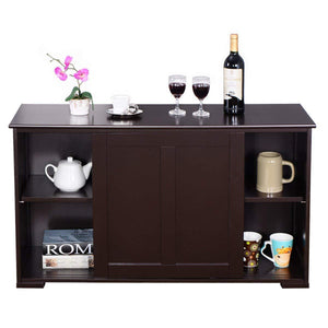 Storage organizer costzon kitchen storage sideboard antique stackable cabinet for home cupboard buffet dining room espresso sideboard with sliding door