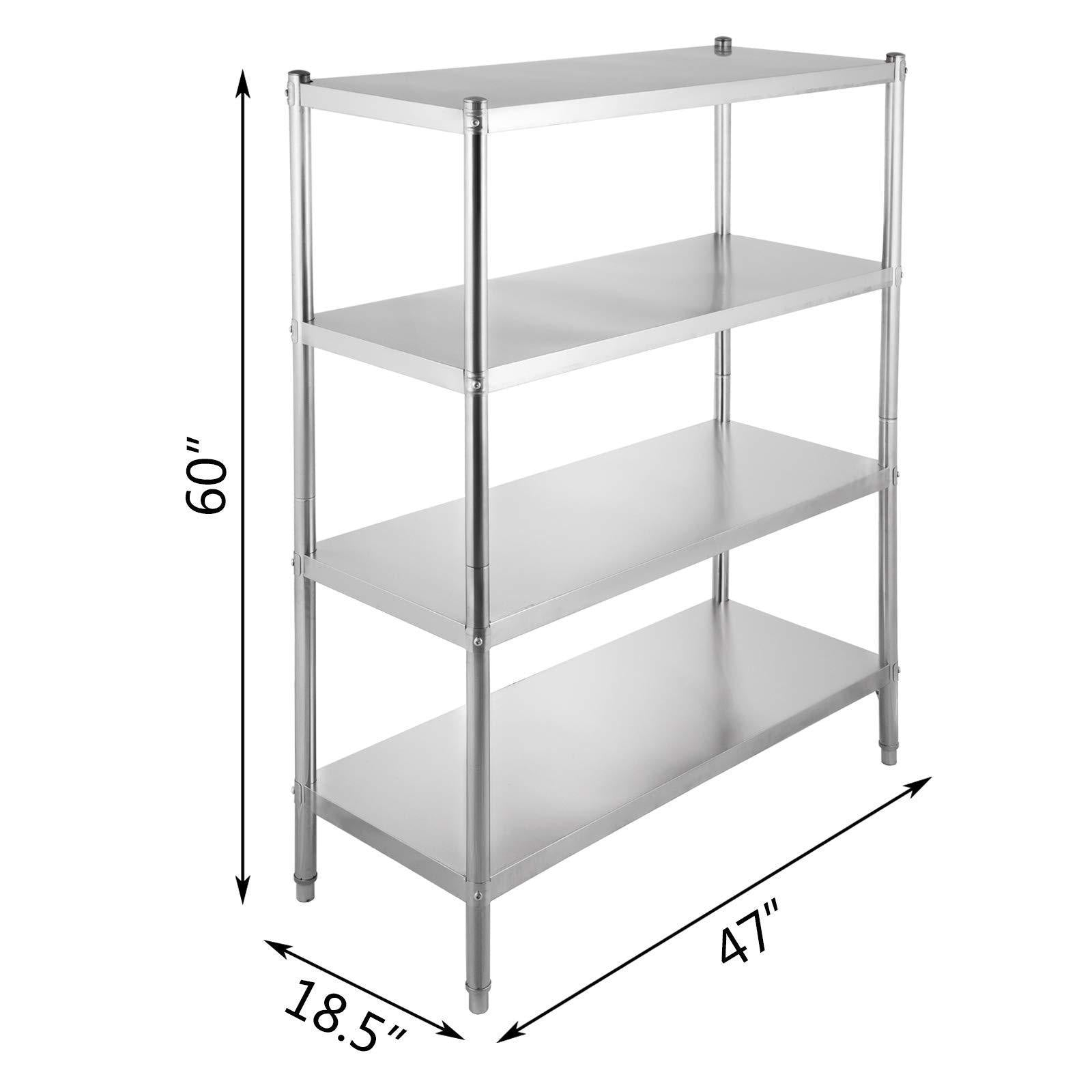Buy happybuy stainless steel shelving units heavy duty 4 tier shelving units and storage shelf unit for kitchen commercial office garage storage 4 tier 400lb per shelf