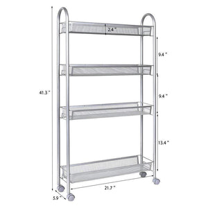 Buy dalilylime 4 tier removable storage cart gap kitchen slim slide out storage tower rack with wheels cupboard with casters silver 4 layers 420s