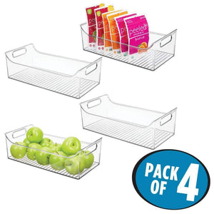 Discover mdesign wide plastic kitchen pantry cabinet refrigerator or freezer food storage bin with handles organizer for fruit yogurt snacks pasta bpa free 16 long 4 pack clear