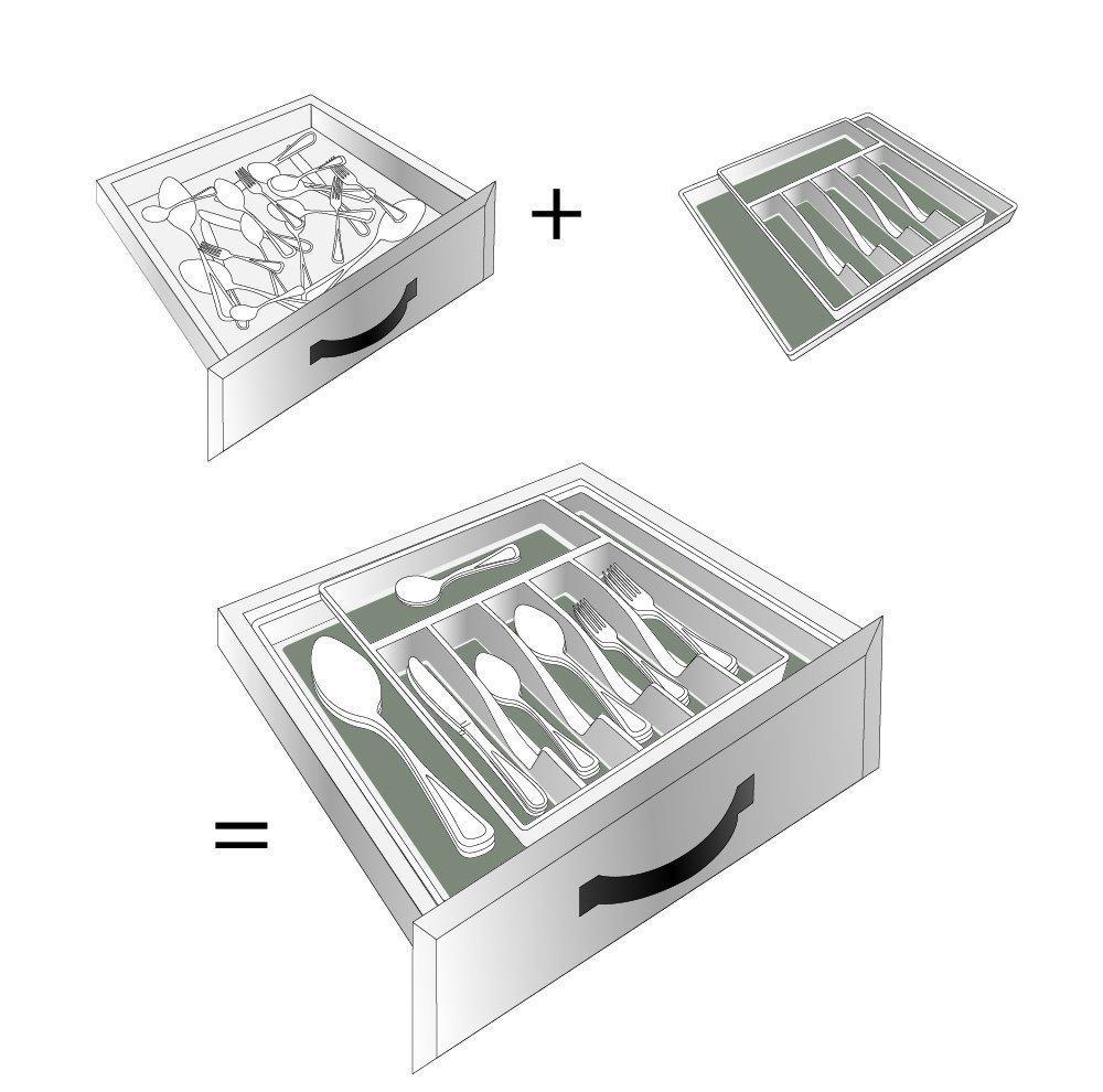 Discover the best kd organizers 8 slot expandable kitchen or desk drawer organizer large adjustable storage tray for silverware utensils office supplies and more