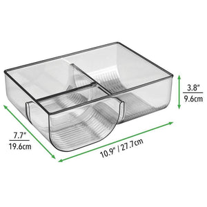 Results mdesign food storage container lid holder 3 compartment plastic organizer bin for organization in kitchen cabinets cupboards pantry shelves 2 pack smoke gray