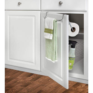 Storage organizer 10 5 in x 12 in x 5 75 in sturdy steel construction durable portable and versatile over the cabinet dual towel bar and bottle organizer in chrome for your kitchen bathroom laundry