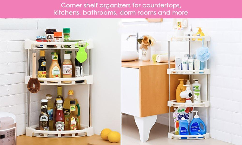 Exclusive 4 tier corner storage organizer shelf i best kitchen spice rack makeup cosmetics counter organizing stand bathroom organizer off white 4 tier