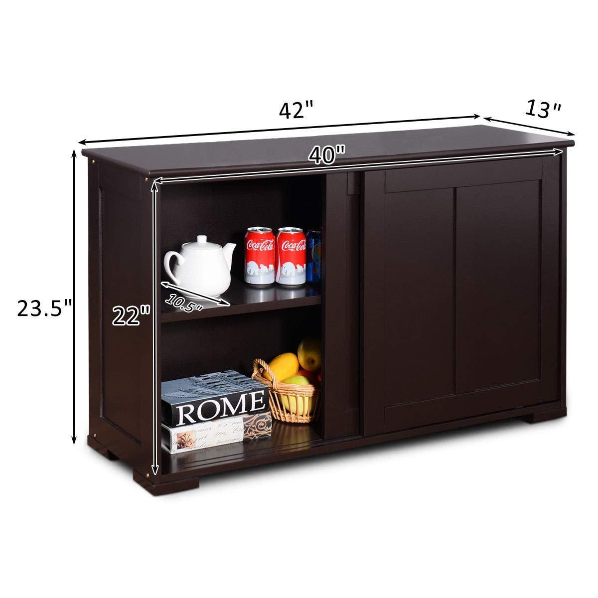 Selection costzon kitchen storage sideboard antique stackable cabinet for home cupboard buffet dining room espresso sideboard with sliding door