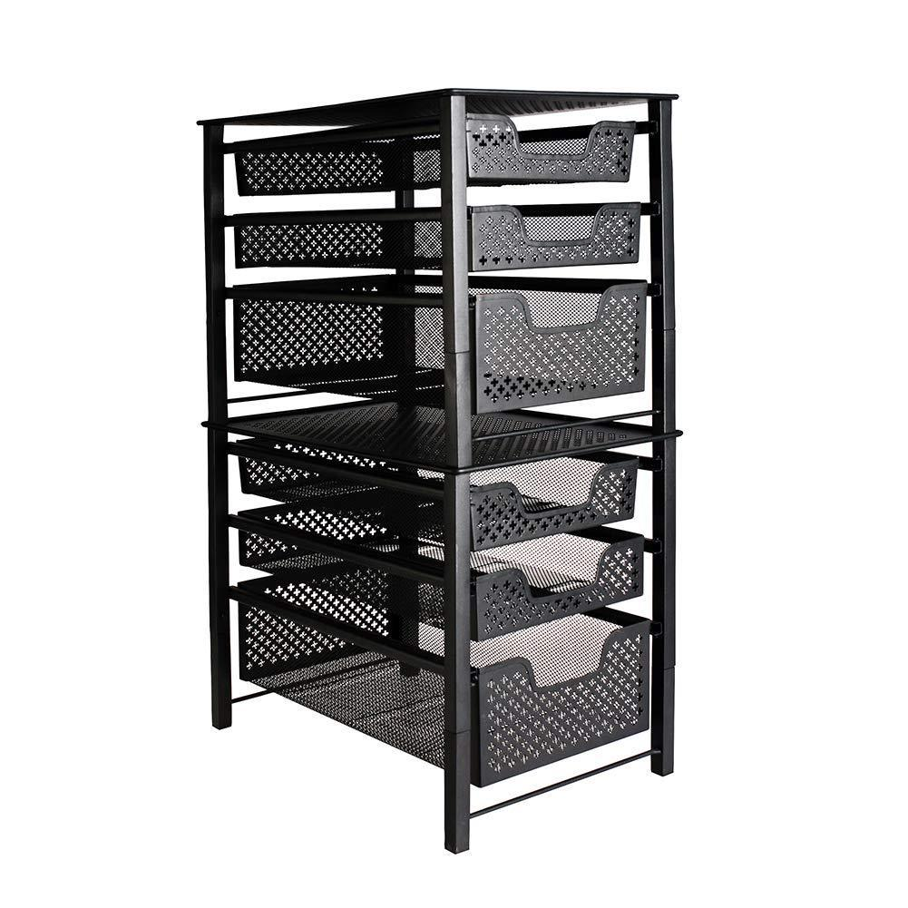 Shop stackable 3 tier organizer baskets with mesh sliding drawers ideal cabinet countertop pantry under the sink and desktop organizer for bathroom kitchen office