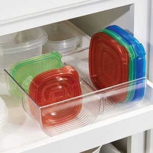 Amazon best mdesign food storage container lid holder 3 compartment plastic organizer bin for organization in kitchen cabinets cupboards pantry shelves 2 pack clear