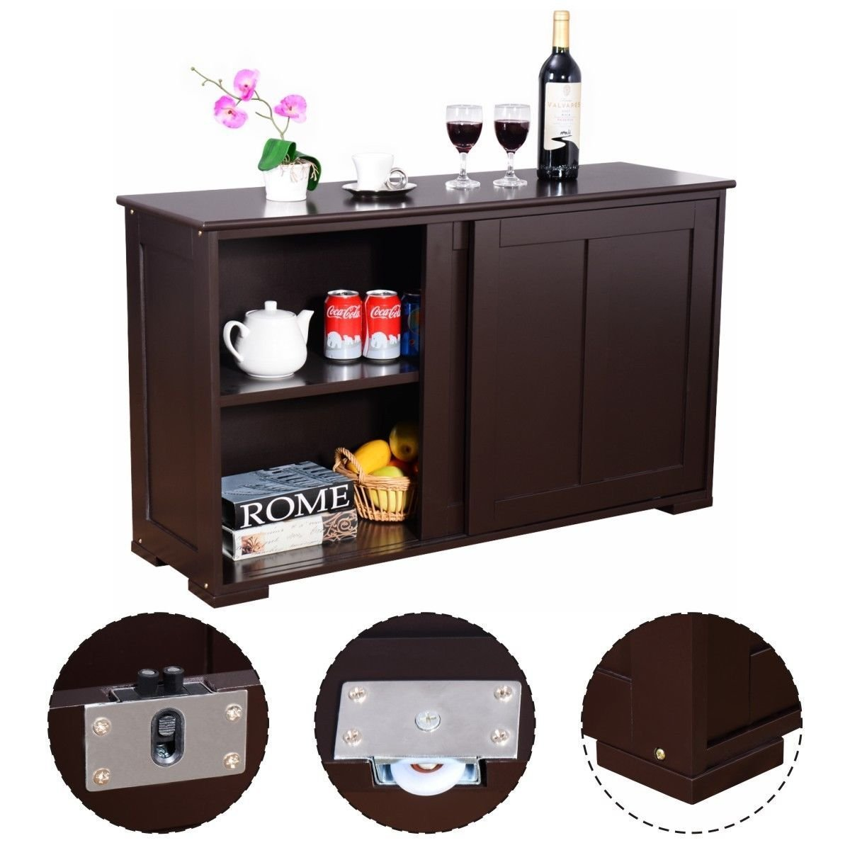 Shop here costzon kitchen storage sideboard antique stackable cabinet for home cupboard buffet dining room espresso sideboard with sliding door