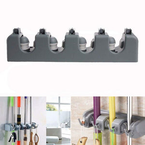 Discover the best free walker magic wall mount mop holder with 5 positons and 6 hooks broom holder hanger brush cleaning tools for home kitchen prefect for storage and organization 5 postions