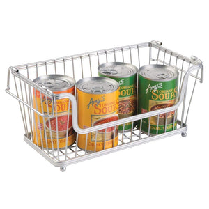 Shop here mdesign modern farmhouse metal wire household stackable storage organizer bin basket with handles for kitchen cabinets pantry closets bathrooms 12 5 wide 6 pack chrome