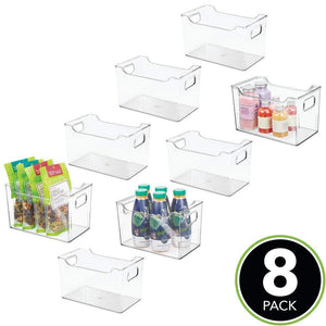 On amazon mdesign plastic kitchen pantry cabinet refrigerator or freezer food storage bin with handles organizer for fruit yogurt snacks pasta bpa free 10 long 8 pack clear