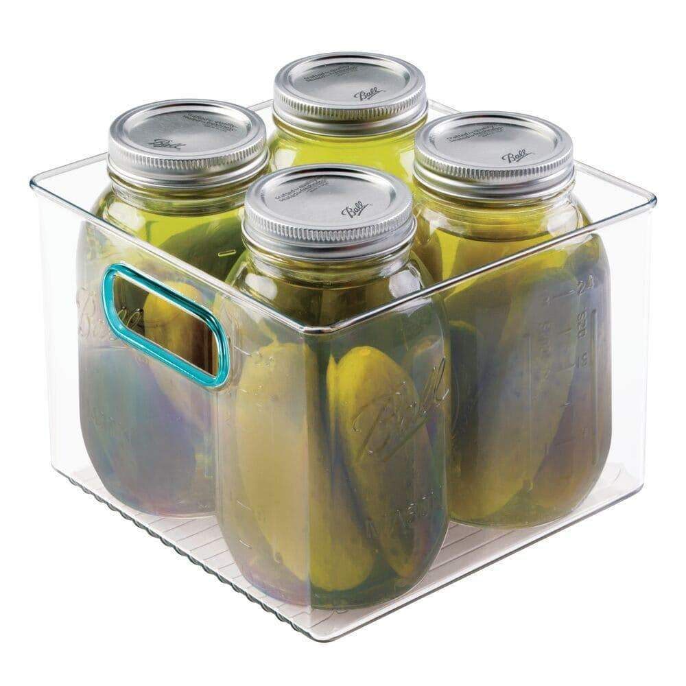 Buy mdesign plastic food storage container bin with handles for kitchen pantry cabinet fridge freezer cube organizer for snacks produce vegetables pasta bpa free food safe 8 pack clear blue