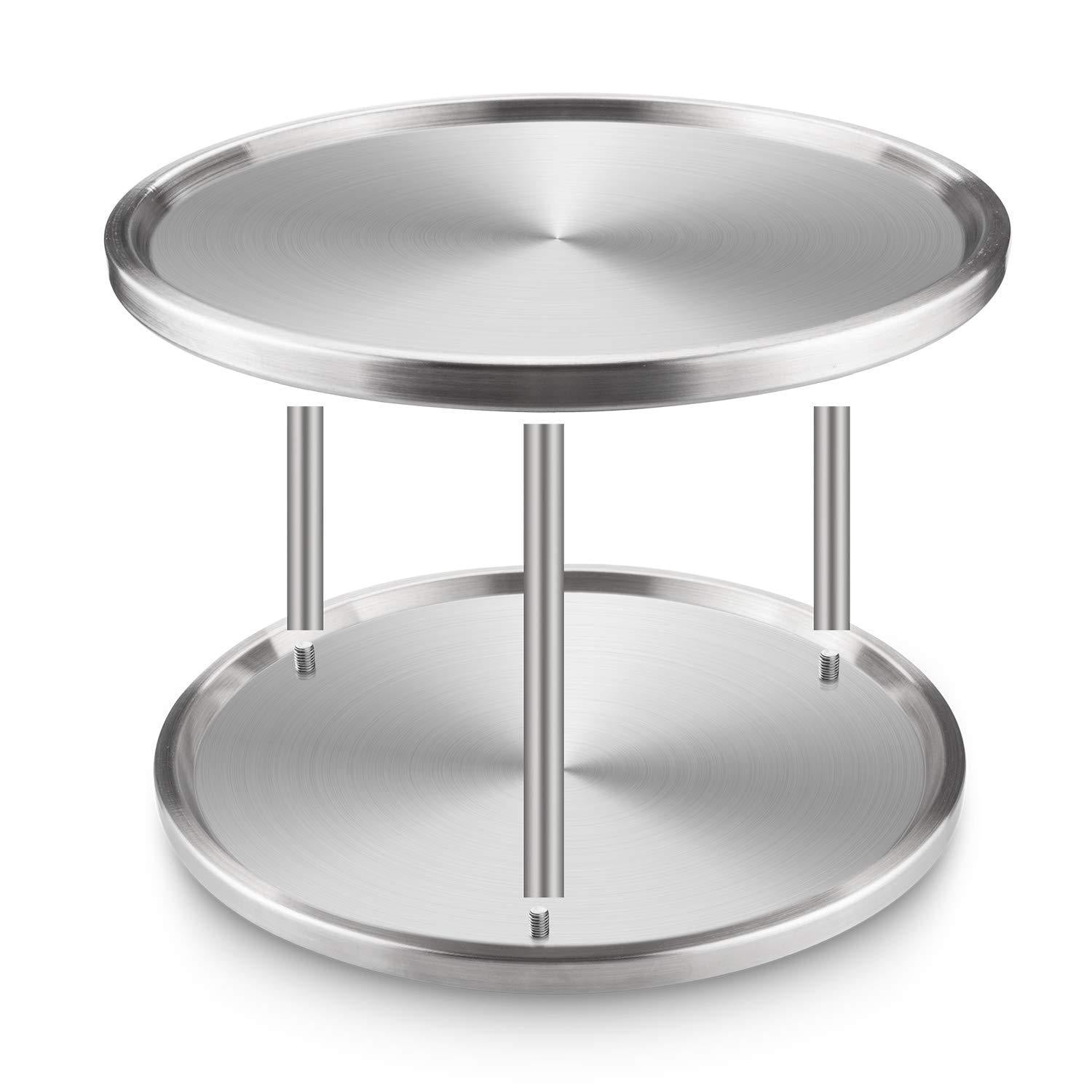 Exclusive starvast 2 pack 2 tier stainless steel lazy susan turntable 10 inch 360 degree lazy susan spice rack organizer for kitchen cabinet countertop centerpiece