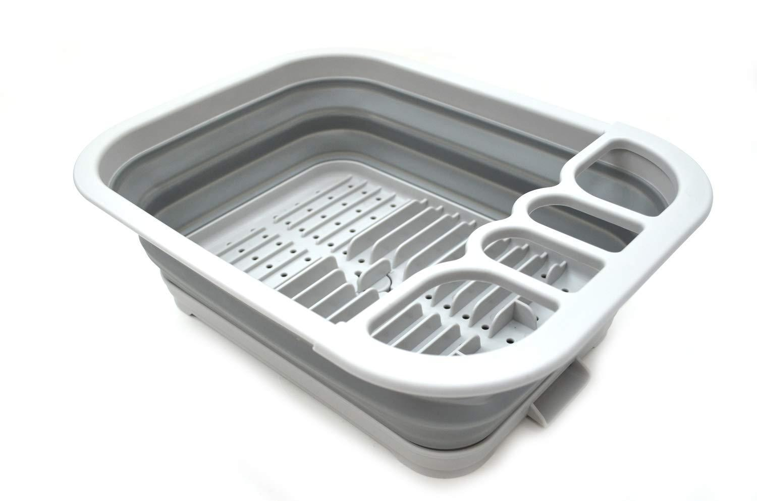 Order now sammart set of 12 collapsible dish drainer with drainer board foldable drying rack set portable dinnerware organizer space saving kitchen storage tray 12 grey