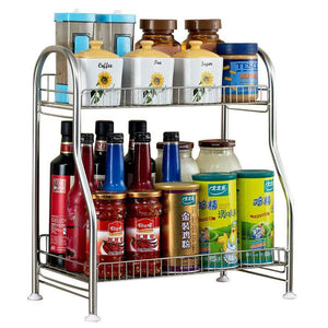 Purchase junyuan kitchen spice racks 2 tier bathroom shelf kitchen countertop storage organizer jars bottle seasoning rack shelf holder space saving high capacity mesh wire stainless steel