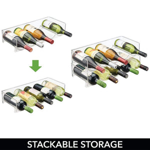 Products mdesign plastic free standing water bottle and wine rack storage organizer for kitchen countertops table top pantry fridge stackable holds 5 bottles each 4 pack clear