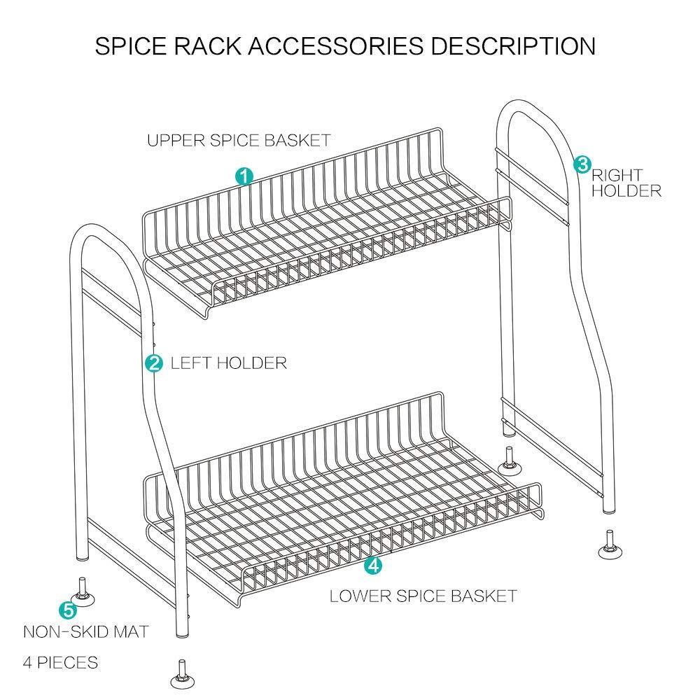 Save junyuan kitchen spice racks 2 tier bathroom shelf kitchen countertop storage organizer jars bottle seasoning rack shelf holder space saving high capacity mesh wire stainless steel