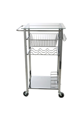 Order now mind reader glass top mobile kitchen cart with wine bottle holder wine rack towel holder perfect kitchen island for cooking utensils kitchen appliances and food storage silver