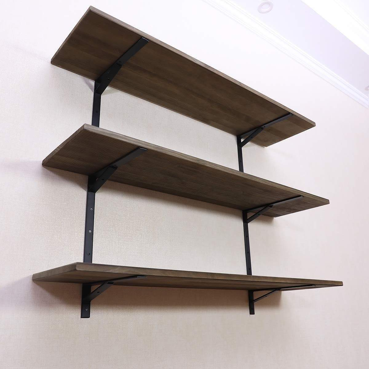 Budget puncia 48 industrial long pine solid wood wall floating storage shelf farmhouse kitchen bar display wooden wall bookcase tool shelves 48in x 12in x 0 8in x 3 tiers l brown