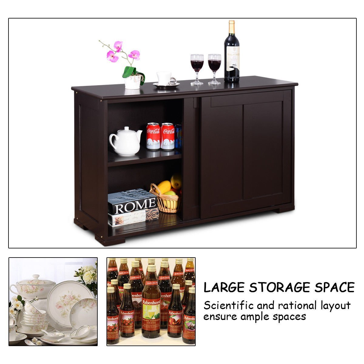 Shop costzon kitchen storage sideboard antique stackable cabinet for home cupboard buffet dining room espresso sideboard with sliding door