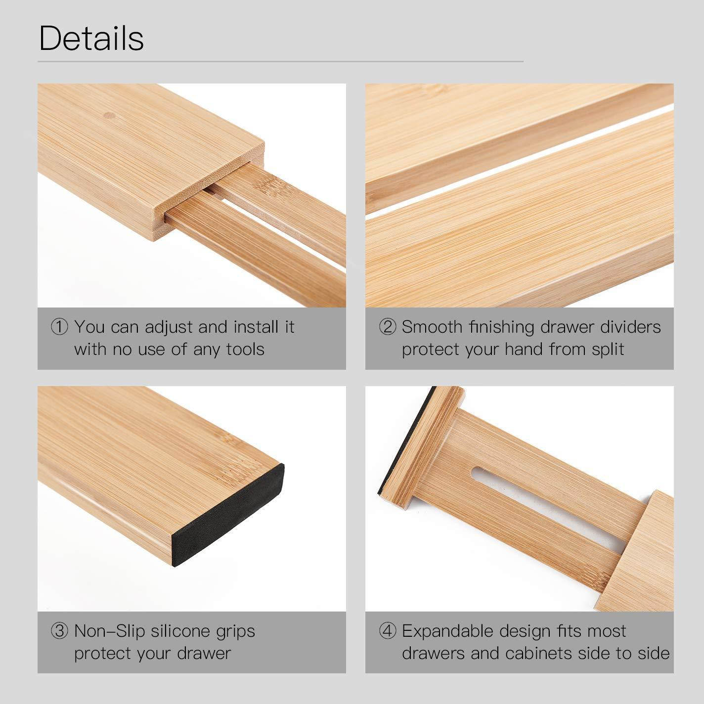 Save on utoplike 4 pack bamboo kitchen drawer dividers 17 5 21 65in adjustable drawer organizers spring loaded works in kitchen dresser bathroom bedroom baby drawer desk