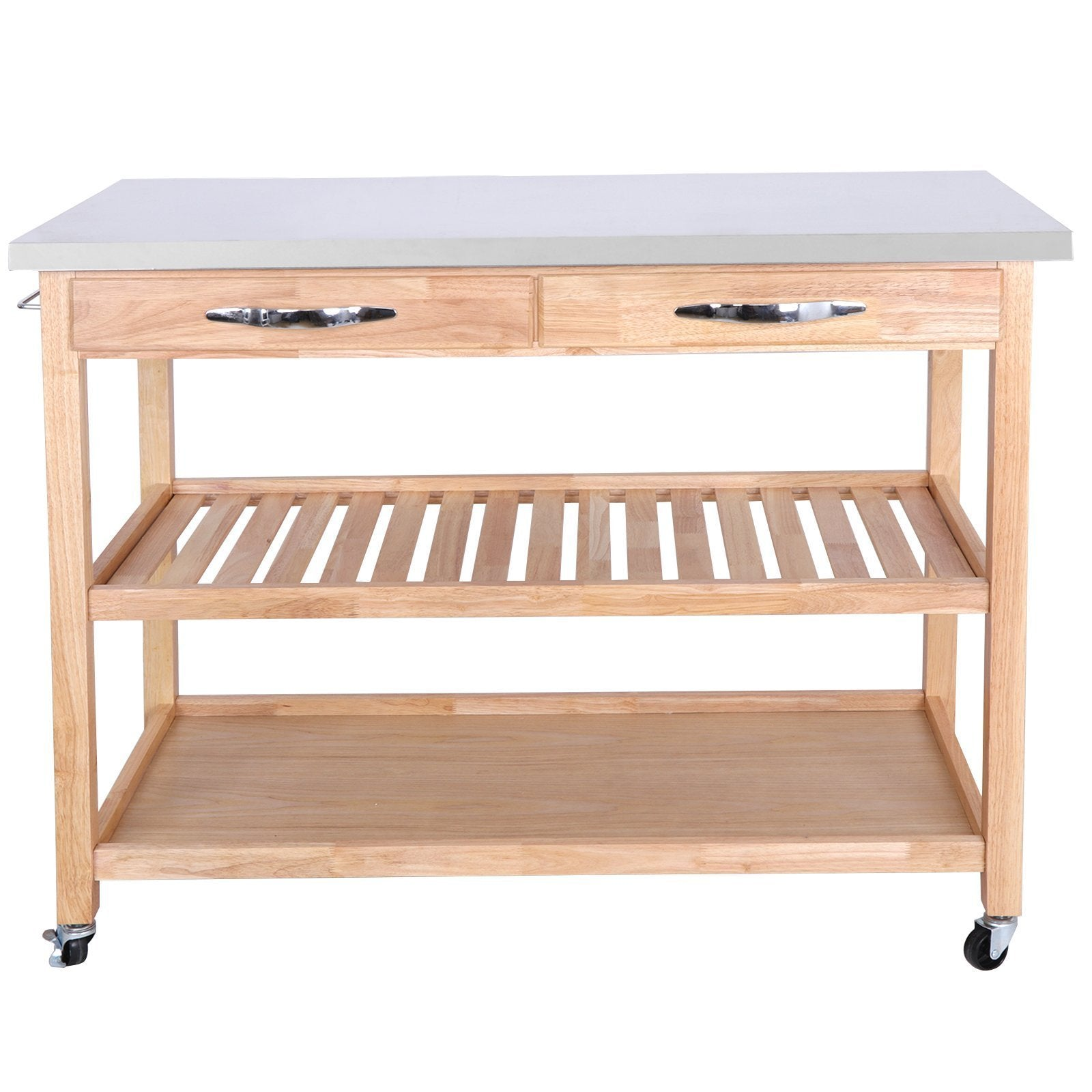 Get zenstyle 3 tier rolling kitchen island utility wood serving cart stainless steel countertop kitchen storage cart w shelves drawers towel rack