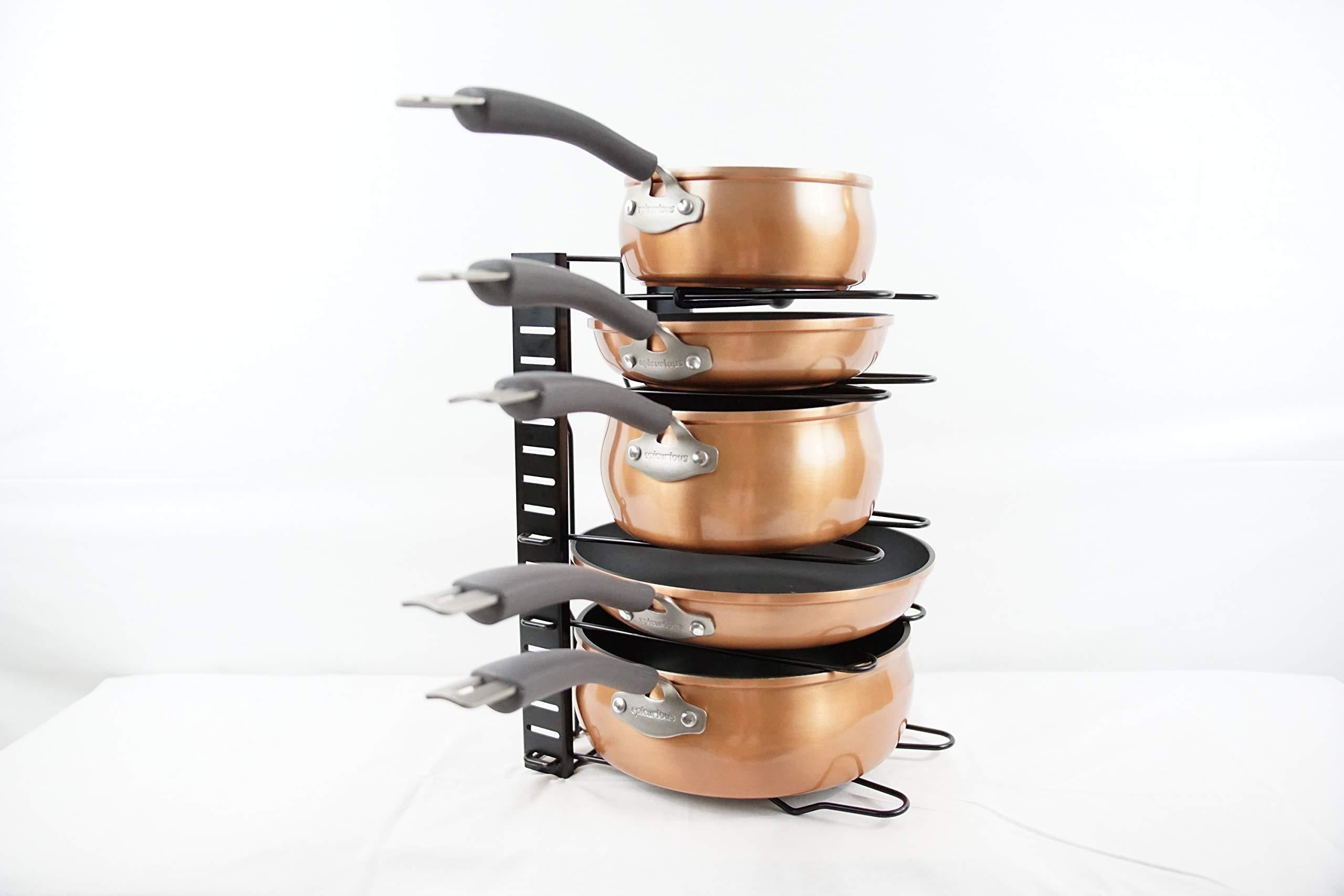 Select nice pot and pan organizer rack for cabinet home kitchen storage pan holder cabinet pot organizer 8 tier adjustable heights expandable pot organizer for under cabinet