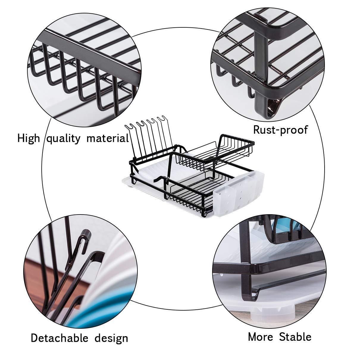 Products 2 tier dish rack dish drying rack with utensil holder and drain board wine glass holder easy storage rustproof kitchen counter dish drainer rack organizer iron