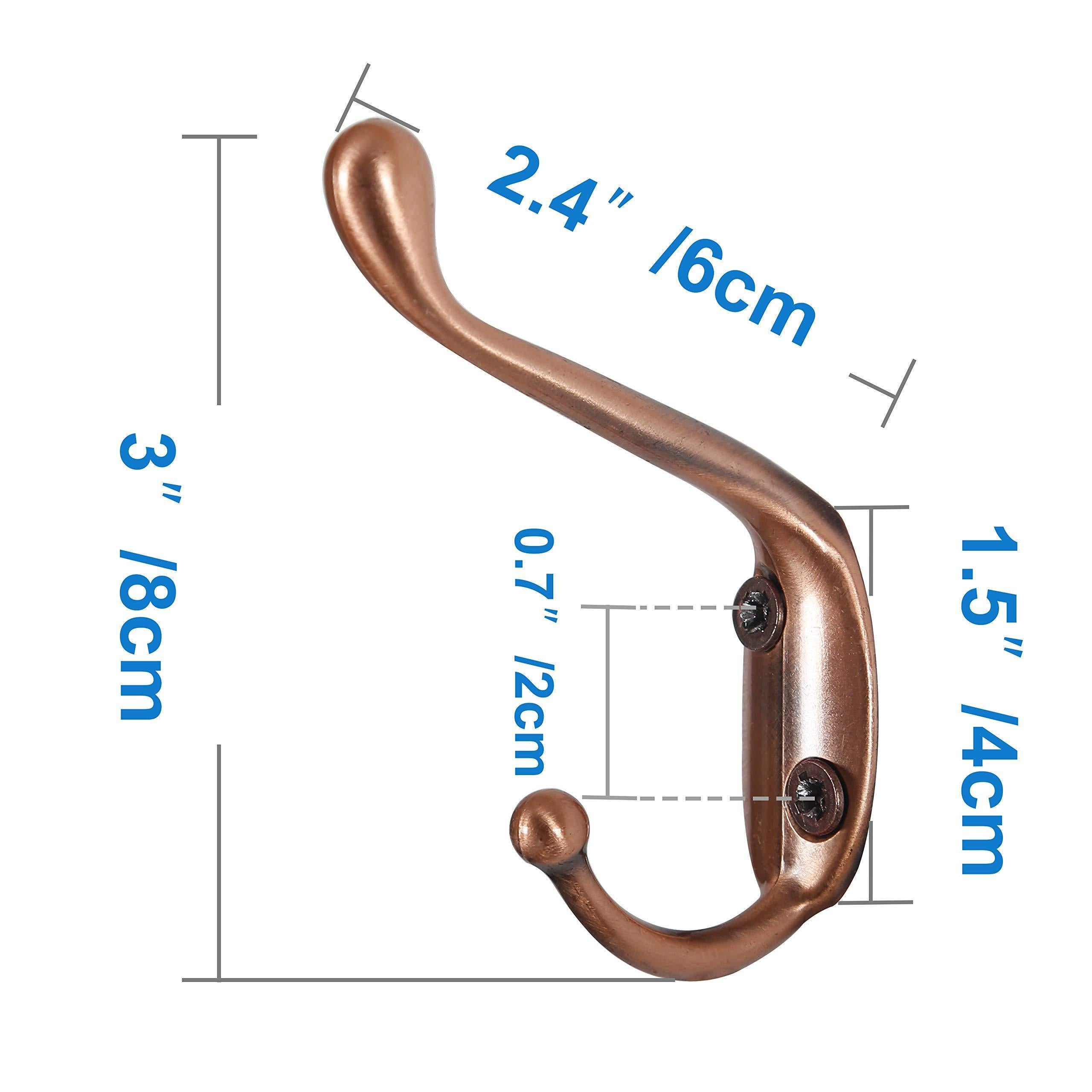 Discover the webi dual coat hook 18 set metal double robe hook decorative coat hat hook bath towel closet clothes hanger garment rail rack holder wall mount entryway kitchen antique copper