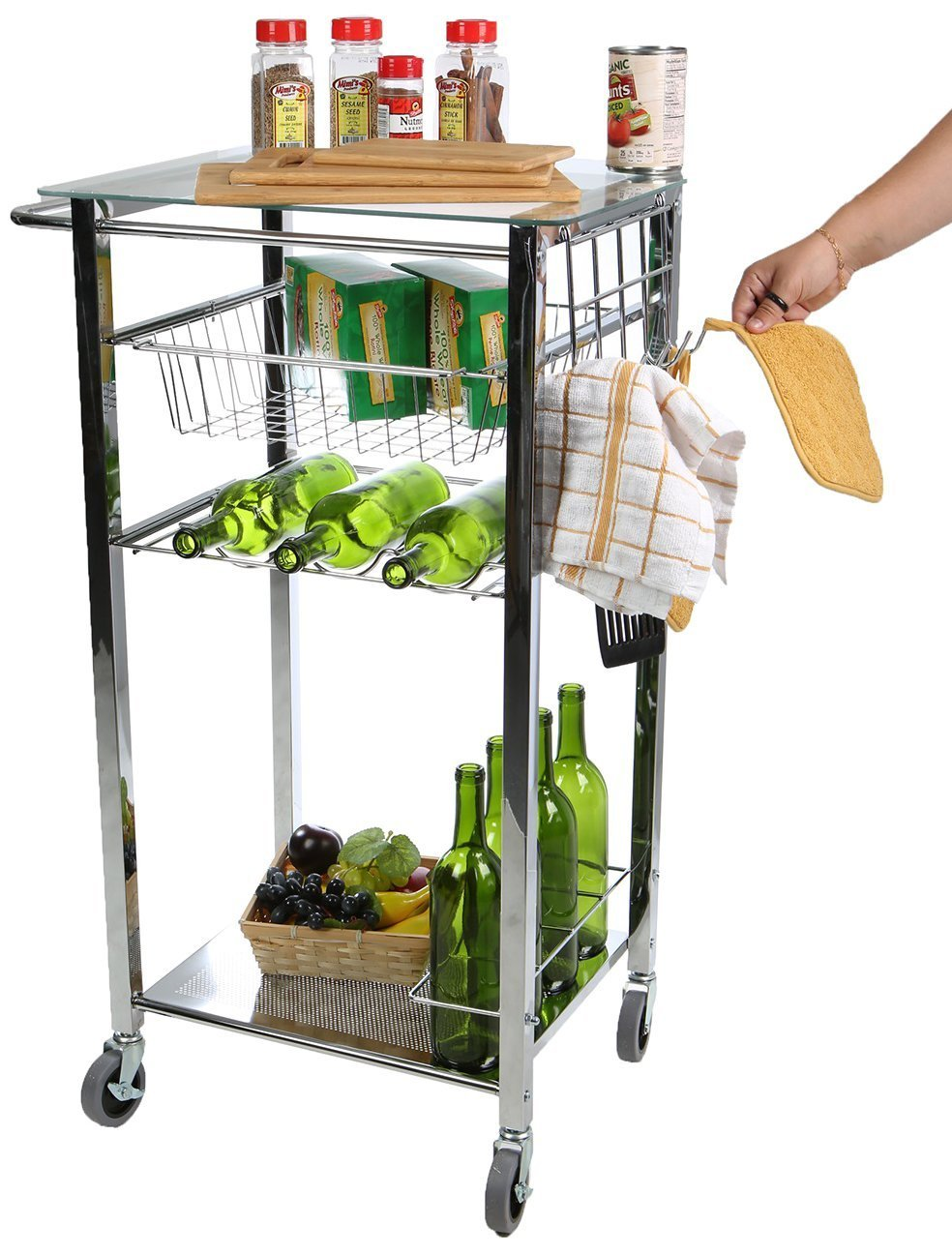 Purchase mind reader glass top mobile kitchen cart with wine bottle holder wine rack towel holder perfect kitchen island for cooking utensils kitchen appliances and food storage silver