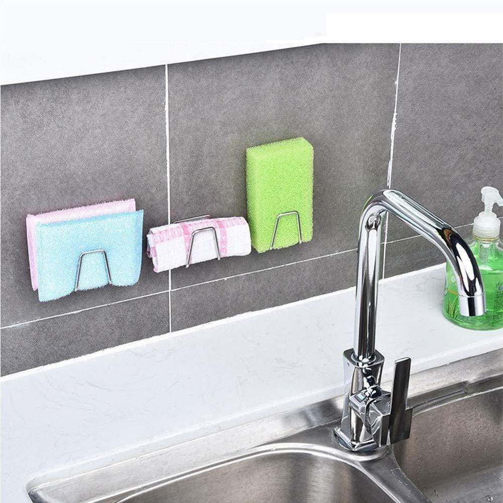 Amazon best adhesive sink sponge holder sponge holder for kitchen sink stainless steel adhesive sponge holder sink caddy in bathroom washroom kitchen for holding sponges soaps scrubbers dishcloth