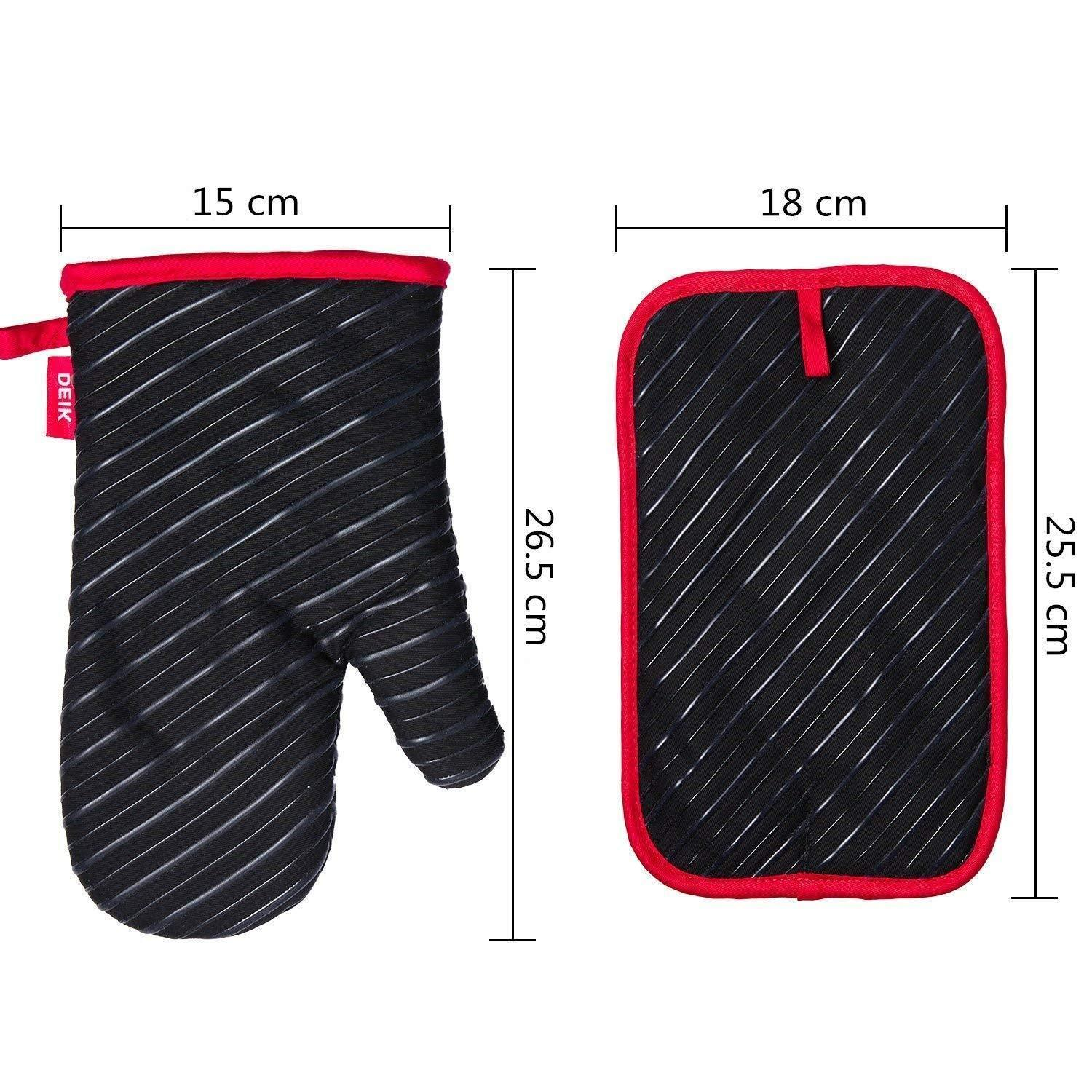 Discover the best deik oven mitts and potholders 4 piece sets for kitchen counter safe mats and advanced heat resistant oven mitt non slip textured grip pot holders nano technology