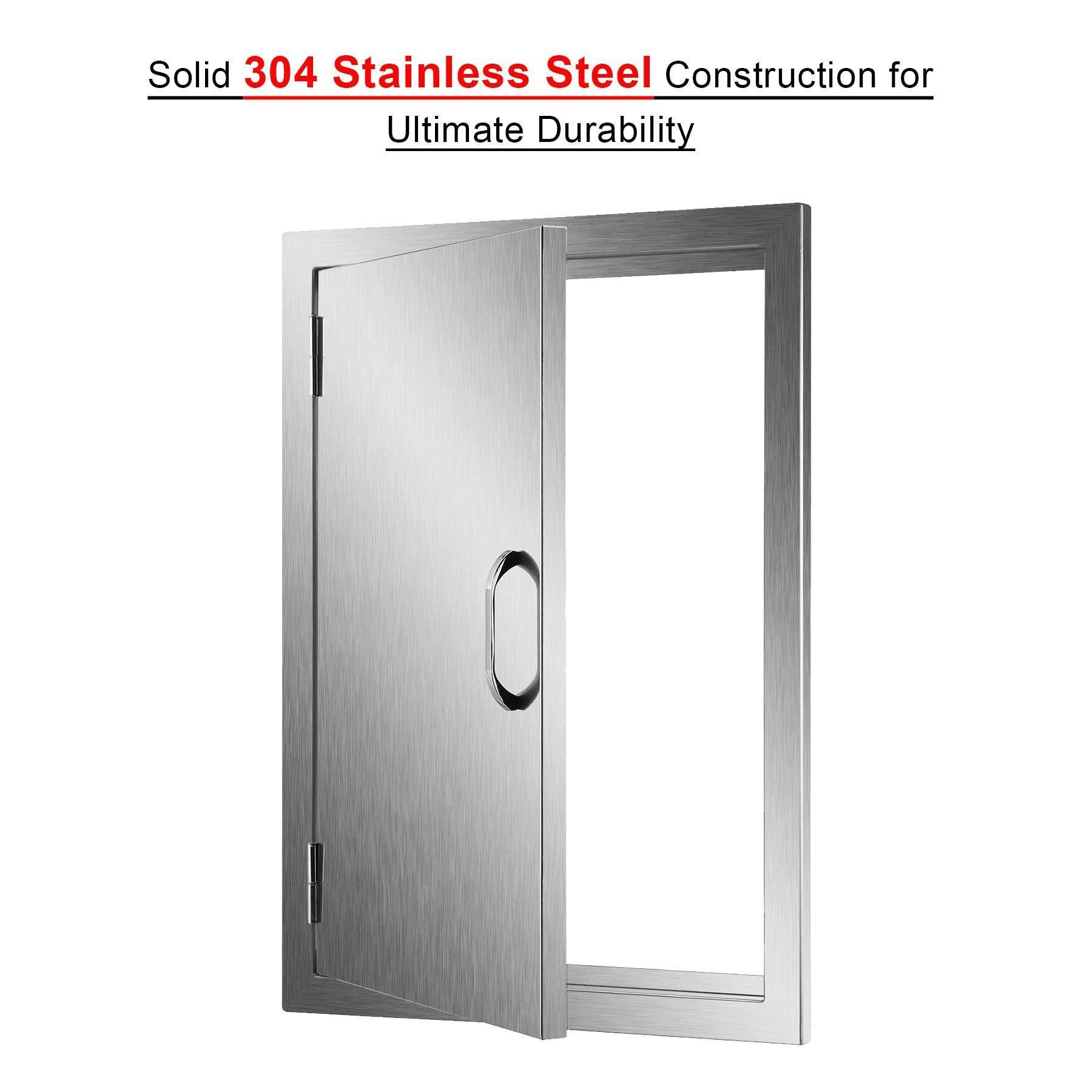 Try co z 304 brushed stainless steel bbq door ss single access doors for outdoor kitchen commercial bbq island grilling station outside cabinet barbeque grill built in