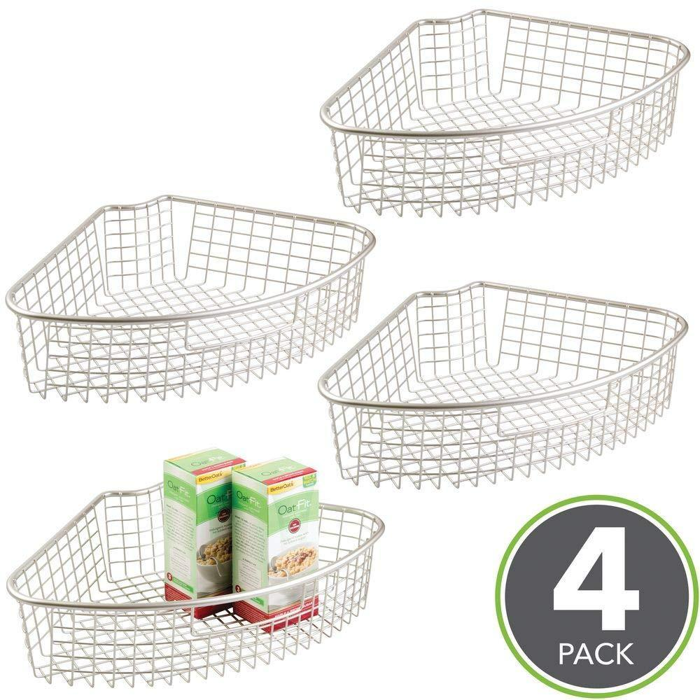 Budget friendly mdesign farmhouse metal kitchen cabinet lazy susan storage organizer basket with front handle large pie shaped 1 4 wedge 4 4 deep container 4 pack satin
