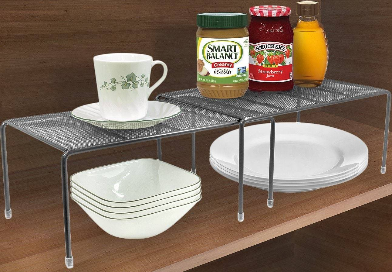 Storage organizer sorbus pantry cabinet organizers features stackable expandable shelves made of steel ideal for pantry cabinet countertop and much more in kitchen bathroom silver