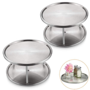Discover starvast 2 pack 2 tier stainless steel lazy susan turntable 10 inch 360 degree lazy susan spice rack organizer for kitchen cabinet countertop centerpiece